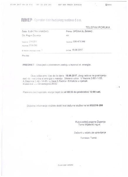 HEP-OBAVIJEST ZA 18.09.2017